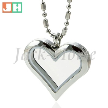 2014 Newest style high quality  316L stainless steel magnetic toughened glass heart origami owl locket