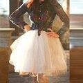 Marfil Mini Faldas Del Tutú de Tul 2016 Country Style Barato Corto Faldas de Las Mujeres de Tres Capas de Tul de Un Forro 90 Color Disponible