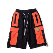 Side Buckle Ribbon Color Block Patchwork Cargo Shorts Hip Hop Mens Summer Streetwear Casual Multi Pockets Baggy Shorts
