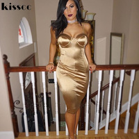 Sexy Bodycon Shiny Satin Padded Midi Dresses Party Dress Sleeveless Split Back Night Club Skinny Dresses