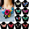 F & U Colorida Flor Joyería al por mayor para las mujeres maxi collar nuevo diseño de moda declaración collar de flores collares y colgantes