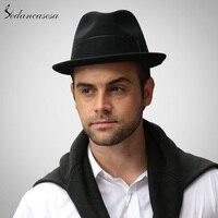 Fashion Feather Fedora hats for men Australia Wool Felt Hat church Gentleman High Quality keep warm Autumn Winter trilby Hats