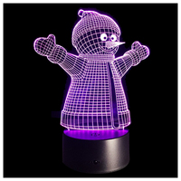 3D Optical Illusion Lamp 7 Colors Change Touch Button Christmas Snowman LED Night Light Black Transparent