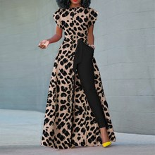 цена на Leopard Print Long Maxi Dress Women High Waist Party Split Dress Empire Sexy Dress