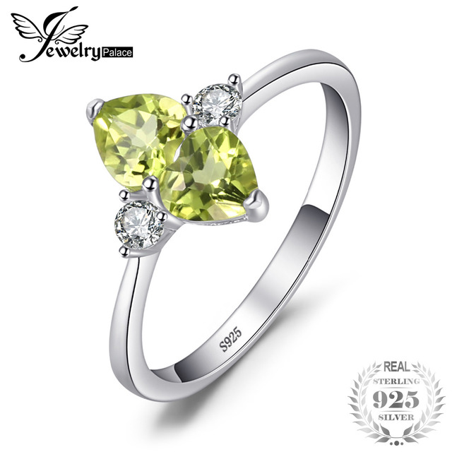 JewelryPalace Love Heart 1.1ct Genuine Peridot Cluster Ring For Woman Solid 925
