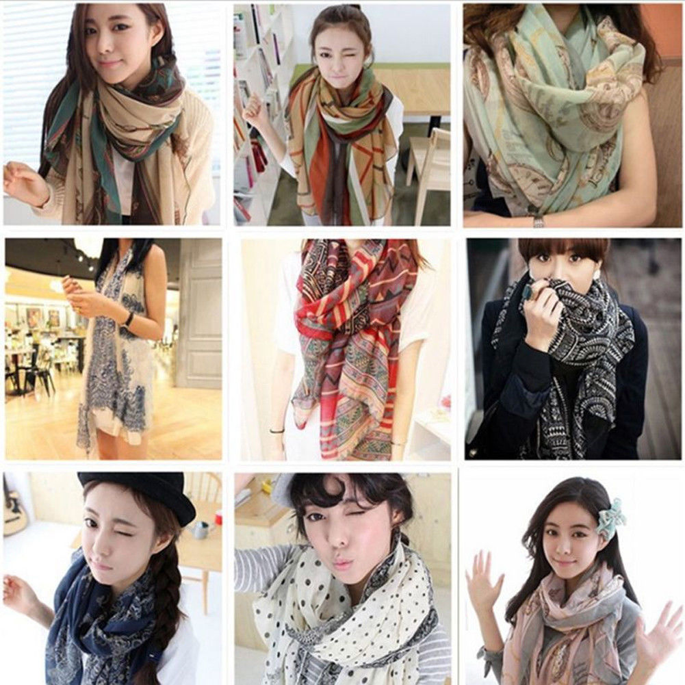Women 2019 Fashion Soft Floral Print Long Neck Large   Scarf     Wrap   Shawl Pashmina Stole   Scarf   Chiffon Voile
