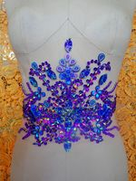 hand made crystals trim patches purple sew on Rhinestones applique 35*22cm for top dress skirt belt