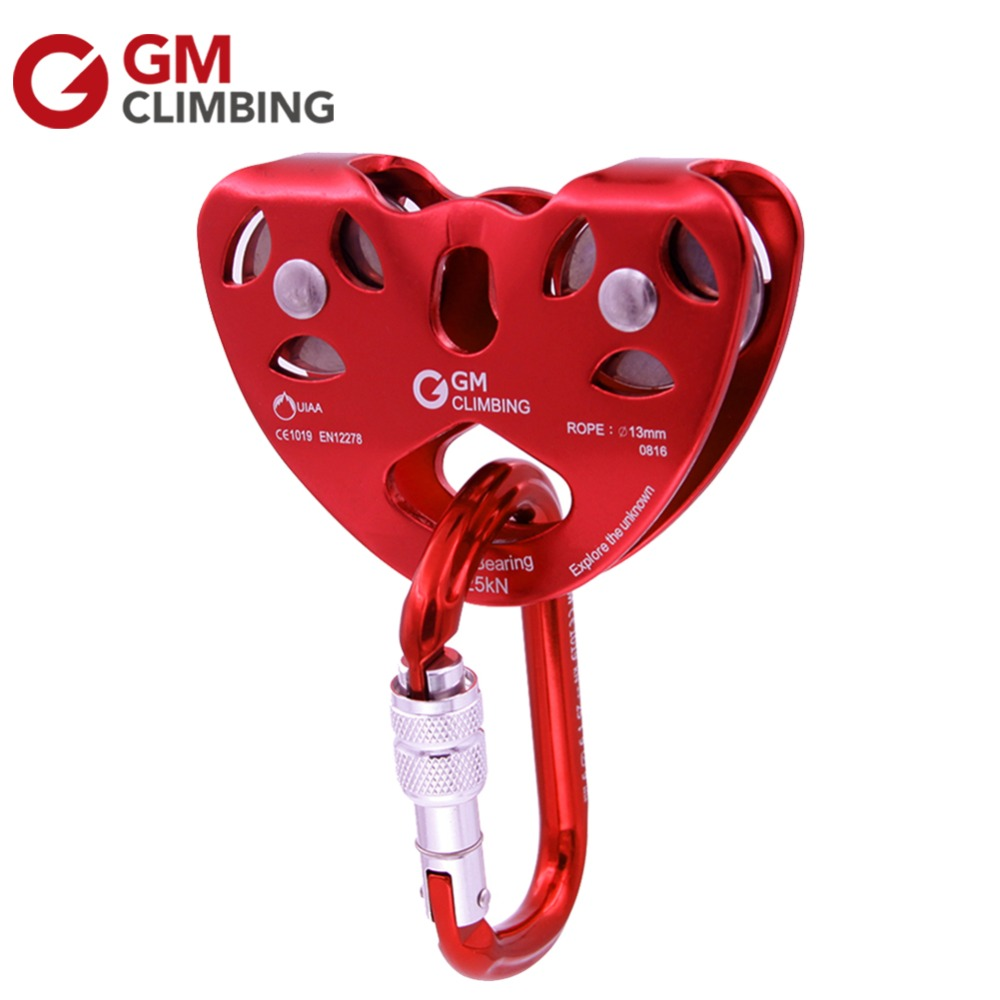 GM Climbing Zip Line Pulley Cable Trolley Kit UIAA / CE With 25kN Screw Locking Carabiner Mountaineering Rappelling Equipment 25kn professional carabiner d shape safety master lock outdoor rock climbing buckle equipment