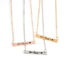 2017 Arrow Necklace Hot Three-Color Gold And Silver Small Bar Arrow Necklace Beautiful Chain Women's Simple Jewelry Wholesale