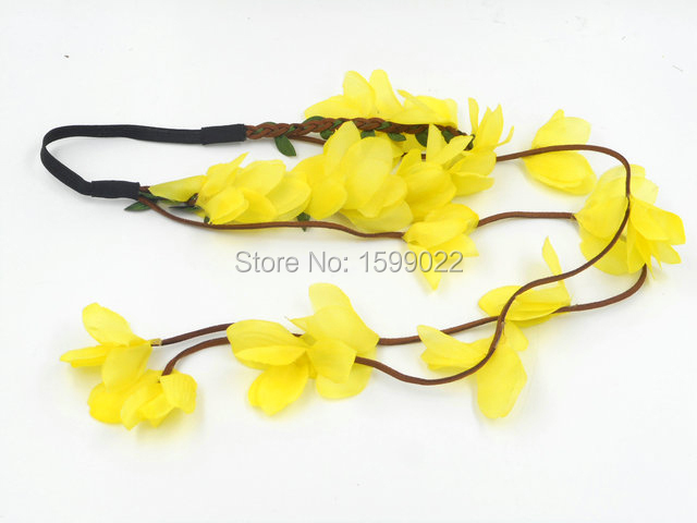 2pcslots Yellow Flower Stretch Headbands Tassel Headpiece Children