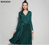 European And American 2018 Fashion Autumn Dress New Sexy V Collar Long Sleeved Knit Dress Bright