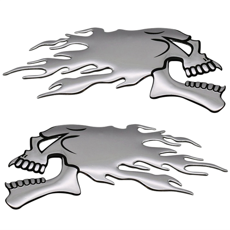2Pcs/Pair 3D Chrome Ghost Skull Head Auto Motorcycle Car Sticker Emblem Decals For Haley Honda Kawasaki 14.5x5.5cm