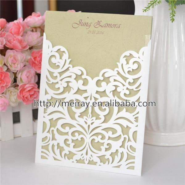 Cream White Wedding Invitation Card, Laser Cut Blank Pocket Invitation,  Laser Cut Wedding Invitation