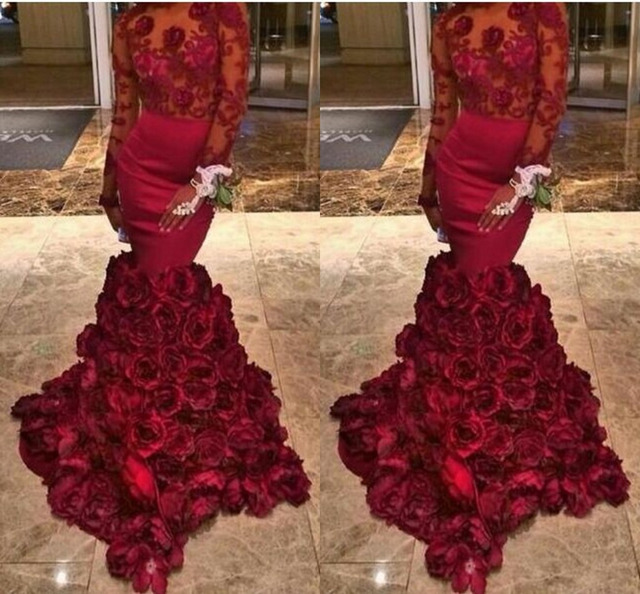 Tight Prom Dress Mermaid Long Sleeves Organza Flower Red Prom