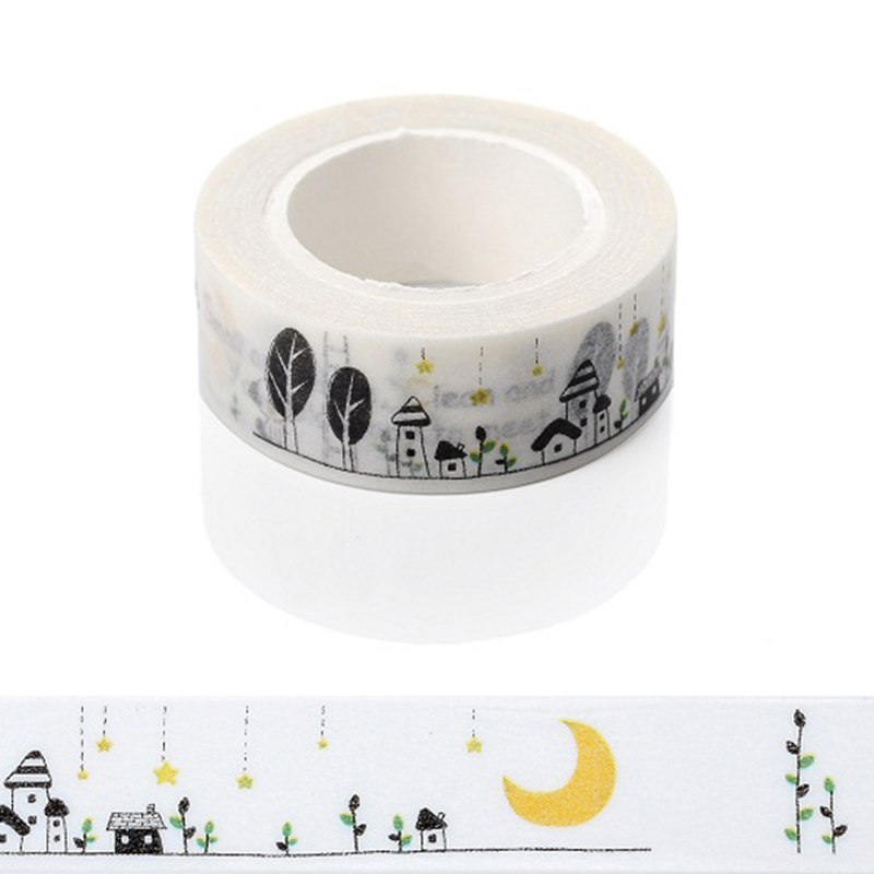 1 PC Moon House Dog Star Decorative Tapes 1.5 X 10m Washi Paper Masking Tape Diy Labeling Floral Stickers Scrapbooking