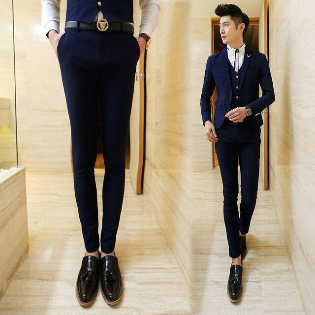2017 Algodón de Color Puro de Los Hombres Boutique de Moda Elástico Delgado Negocio Formal Traje/Vestido de Boda Masculinos Traje de Pantalones pantalones