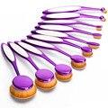Nova 10 pcs Roxo escova de Dente Forma Oval Designe de Maquiagem Jogo de Escova Escovas de Sombras de Olho Creme Em Pó Fundação Escova Cosmética Kit