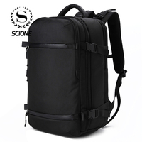 Scione Men USB Charging Multifunction Backpacks Large Capacity Solid Travel Shoulder Bags Waterproof Laptop Shoe Classic Bagpack