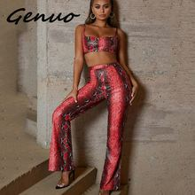 Genuo New Snake Print Sexy Jumpsuit Women Two Piece Set Strapless Backless Rompers Womens Jumpsuits Fashion Zipper Overalls