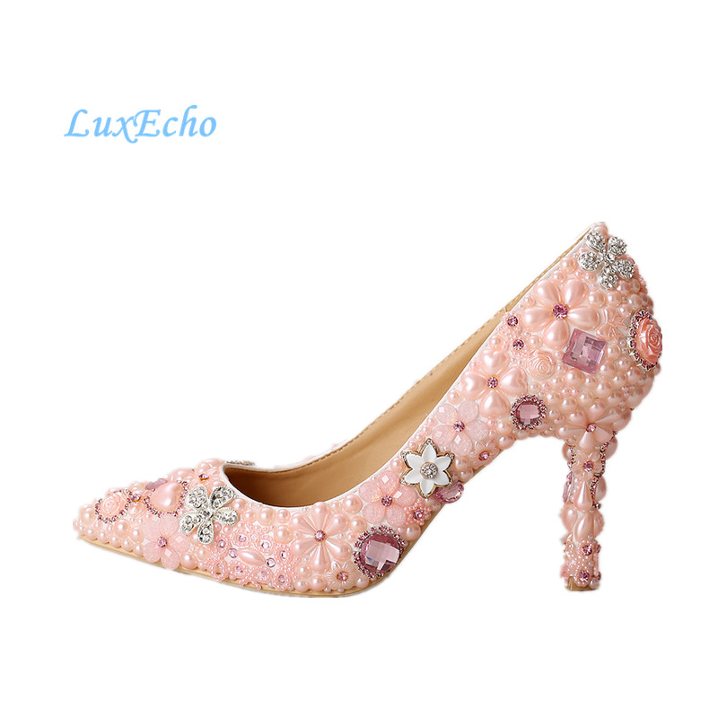 Spring and Autumn pink pearl wedding shoe pointed toe bridal shoes woman party shoes luxury handmade shoes  size 34-39 new arrival spring and autumn pink pearl wedding shoe up heel platform shoes woman party shoes luxury handmade shoes