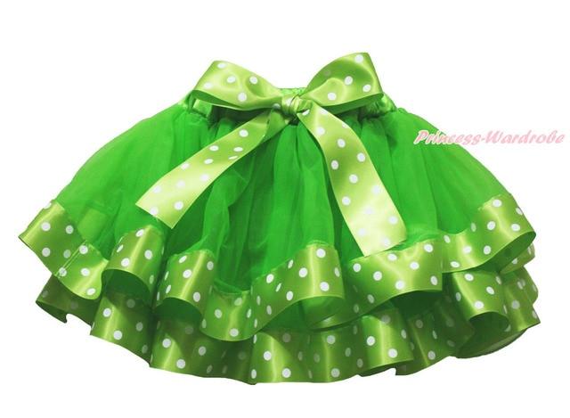 Green Polka Dots Satin Spot Trimmed Tutu Dance Baby Girls Pettiskirt Skirt NB-8Y MADRE0076