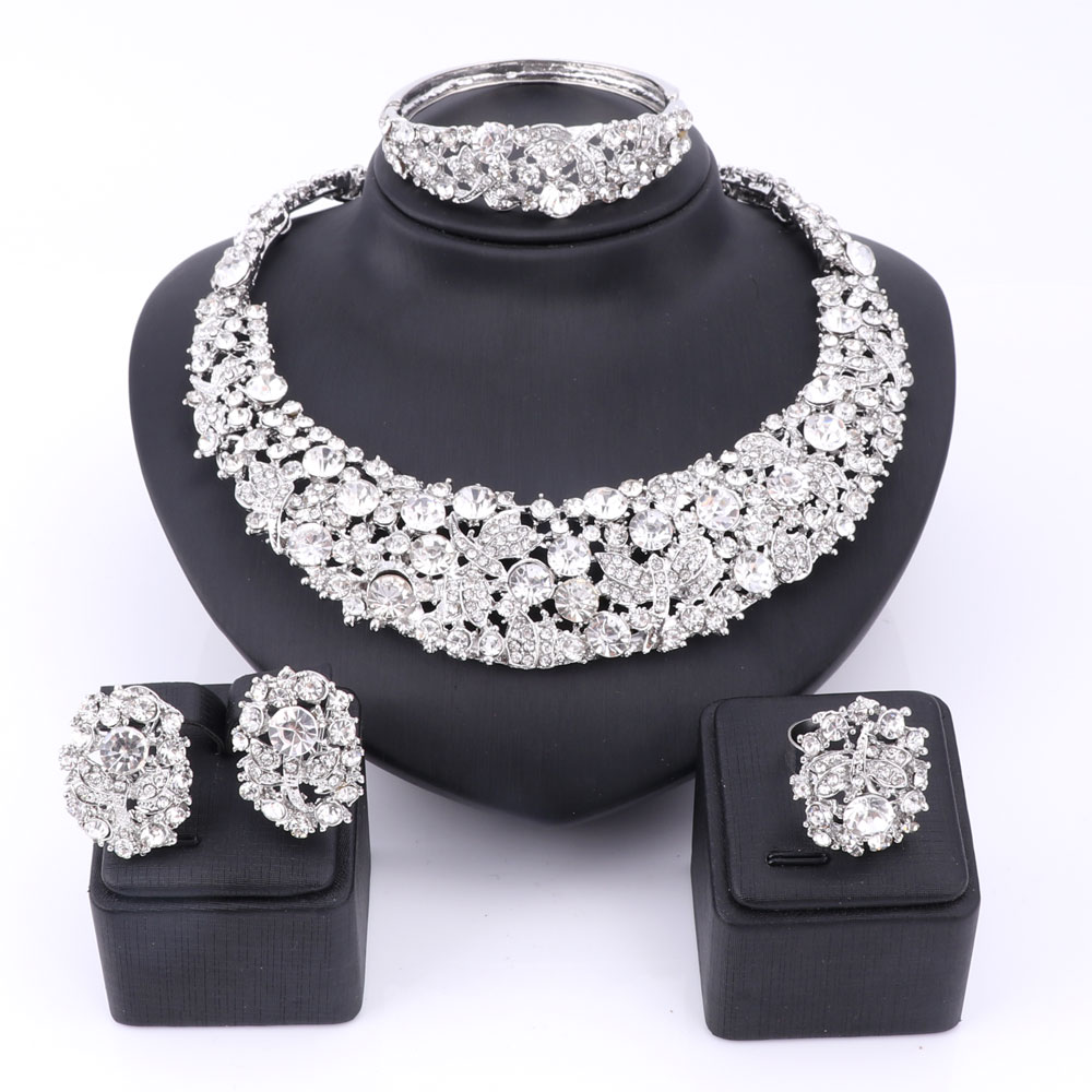 Bridal Gift Nigerian Wedding African Beads Jewelry Set Fashion Dubai Clear Crystal Jewelry Set Costume Design Party Dinner Dress