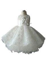 ДЕТСКИЕ WOW Новорожденных Девочка Свадебное Платье Vestidos Bapteme Крещение Девочка Крещение Платья Белый на 1 Год Рождения 8004