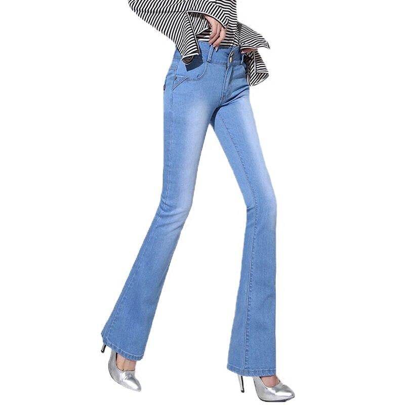 NEW Plus Velvet Flare Jeans Women Autumn Winter Stretch High Waist Jeans Long Denim Pants Trousers Women Warm Jeans Femme C3790 2017 new jeans women spring pants high waist thin slim elastic waist pencil pants fashion denim trousers 3 color plus size