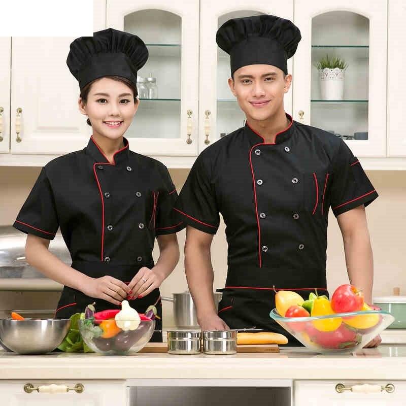 (10 Sets-Hat&Shirt&Apron) New Design Restaurant Uniforms Chef Hat Fashion Hotel Kitchen Apron Chef Cap New Cook Clothes