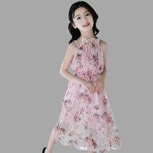 a1951307f2 Vestidos da menina de Verão Rosa Férias Floral Praia Vestido Longo Bohemian  Crianças Vestido de Criança Traje Adolescente Para M..