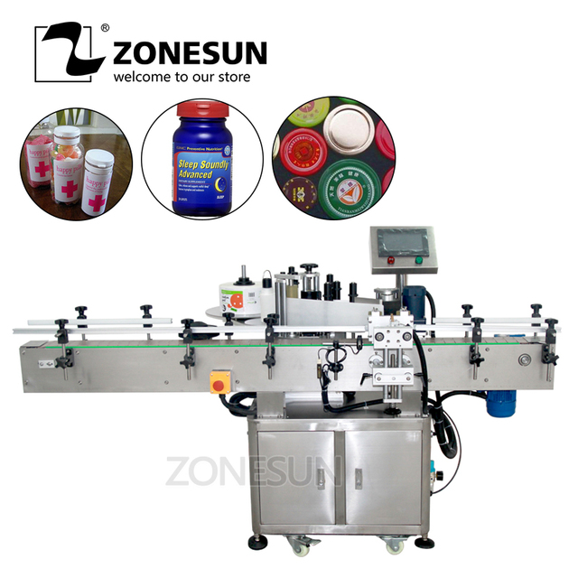 ZONESUN Automatic Round Wine Can/jar Bottle Sticker Roll Labeling Machine For Factory