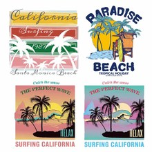 Iron on Letters Patches Applications for Clothes Appliques Heat Transfer Vinyl Palm Tree Patch Stickers Stripes DIY