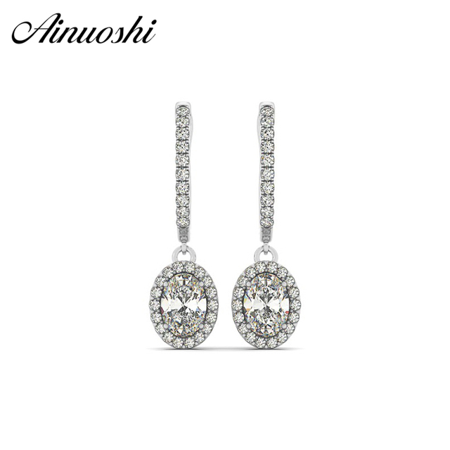 Ainuoshi 925 Sterling Silver Women Drop Earrings 3 Carats Hearts Arrows Halo Oval Cut Anniversary Lover Jewelry