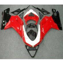 Vermelho Preto ABS Kit Carroçaria Carenagem Para Ducati 1098 848 1198 2007-2012 Injection Motocicleta