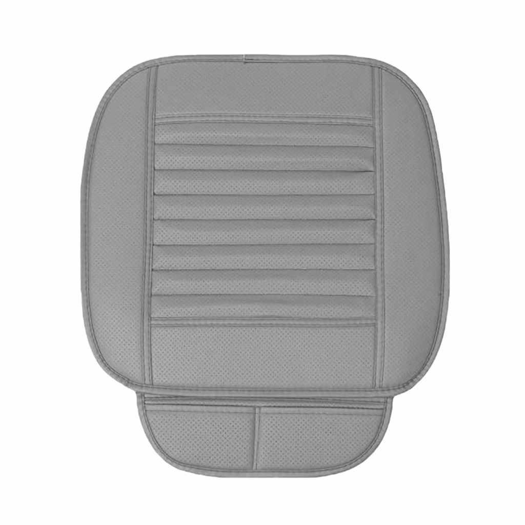 Kongyide Tampa de Assento De Carro de Bambu Almofada Do Assento de Carro de Couro Respirável Pad Mat Cadeira Auto Almofada Universal Cinza je5