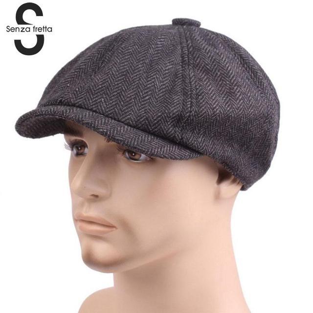 New Autumn Winter Men Flat Cap Grey herringbone Newsboy Bakerboy Hats  Cotton Beret Hat British Retro 85cd80ca402