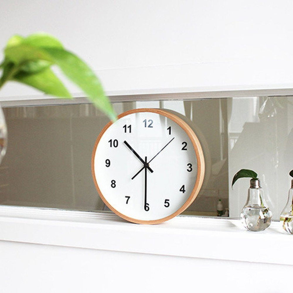 14 Inch Wooden Wall Clock Silent Quartz Battery Operated Wooden White Simple Round Clock Professional Home Office School Clock