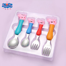 Peppa Pig Children's Tableware Spoon Fork Spoon Set Dining Lunch George Peppa Pig Party Toys Free Delivery