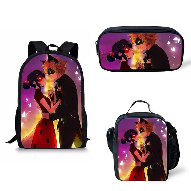 Customized Image 3pcs Set School Bags Kids Boy Backpacks Shoulder Backpack Children Book Bag