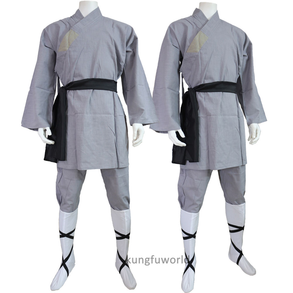 Gray Cotton Shaolin Monk Kung fu Clothes Wushu Uniform Martial arts Tai chi Suit купить недорого в Москве