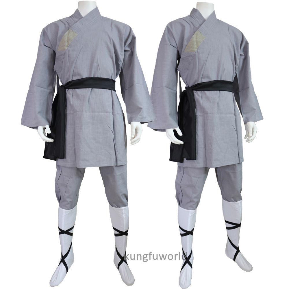 Gray Cotton Shaolin Monk Kung fu Clothes Wushu Uniform Martial arts Tai chi Suit high quality dark gray linen shaolin monk robe kung fu uniform tai chi suit martial arts clothes