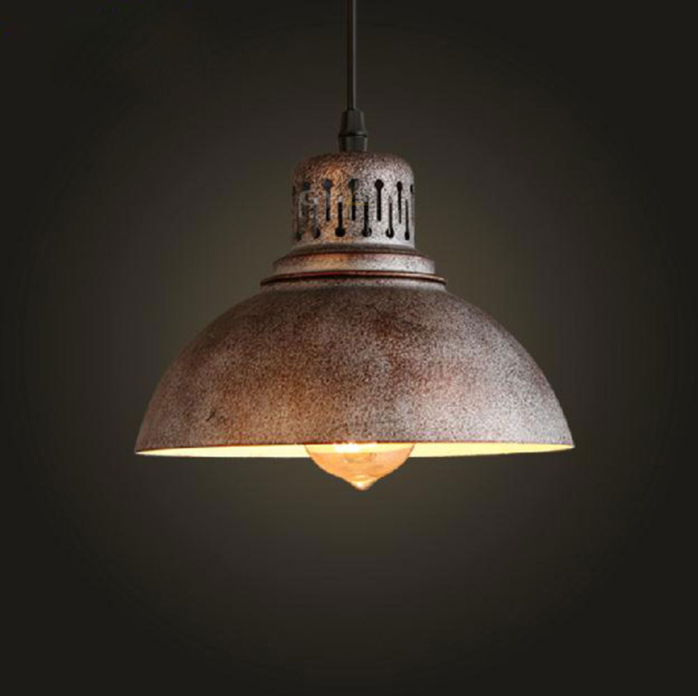 Ac110 220v retro industrial rusty edison bulb hanging lamp for Antique pendant light fixtures