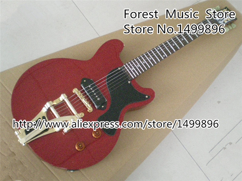 Red Top Doublecut Guitar Body China OEM Electric Guitarra With Single P-90 Style Pickup And Bigsby Free Shipping china firehawk oem electric hollow jazz guitar blue flame maple wood p90 style pickup ems free shipping