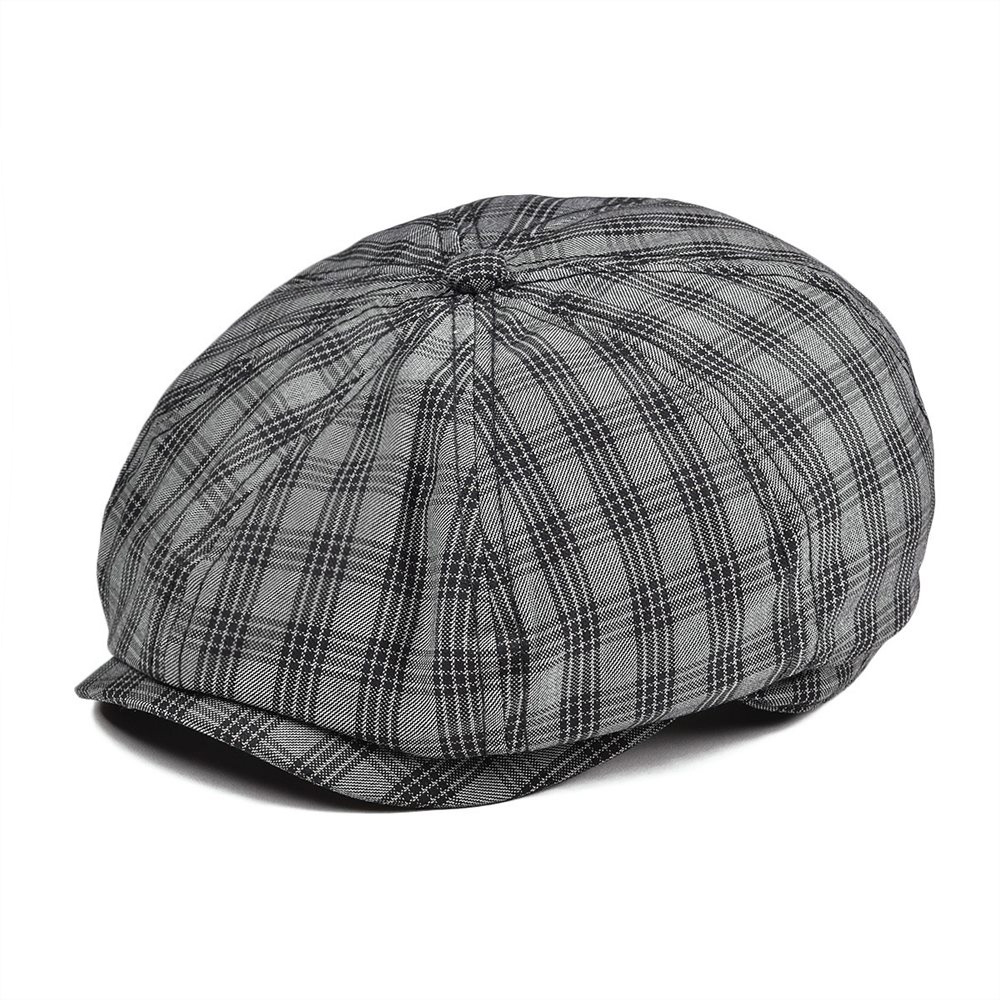 VOBOOM Summer Newsboy Cap Men Women Breathable Flat Caps Plaid Fabric Cabbies Hat Gatsby Beret Boina 103
