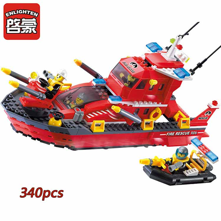 Fire Rescue Boat Building Blocks Fireman Construction Bricks Brand Toys For Children Birthday Gift Brinquedos Compatible Legoe 2016 kids diy toys plastic building blocks toys bricks set electronic construction toys brithday gift for children 4 models in 1