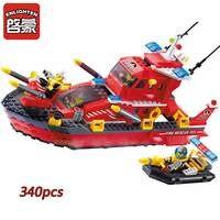 Fire Rescue Boat Building Blocks Fireman Construction Bricks Brand Toys For Children Birthday Gift Brinquedos Compatible
