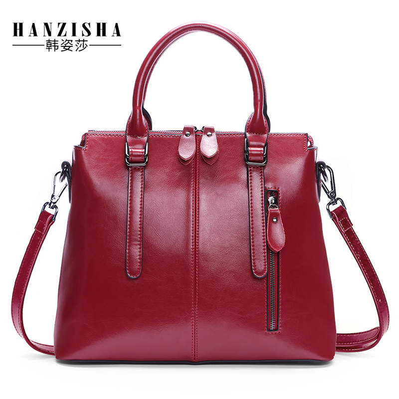2017 New Fashion Brand Genuine Leather Women Handbag Europe and America Oil Wax Leather Women Shoulder Bag Casual Women Bag 2016 new styles of leather and fashion in europe and america