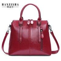 2017 New Fashion Brand Genuine Leather Women Handbag Europe and America Oil Wax Leather Women Shoulder Bag Casual Women Bag
