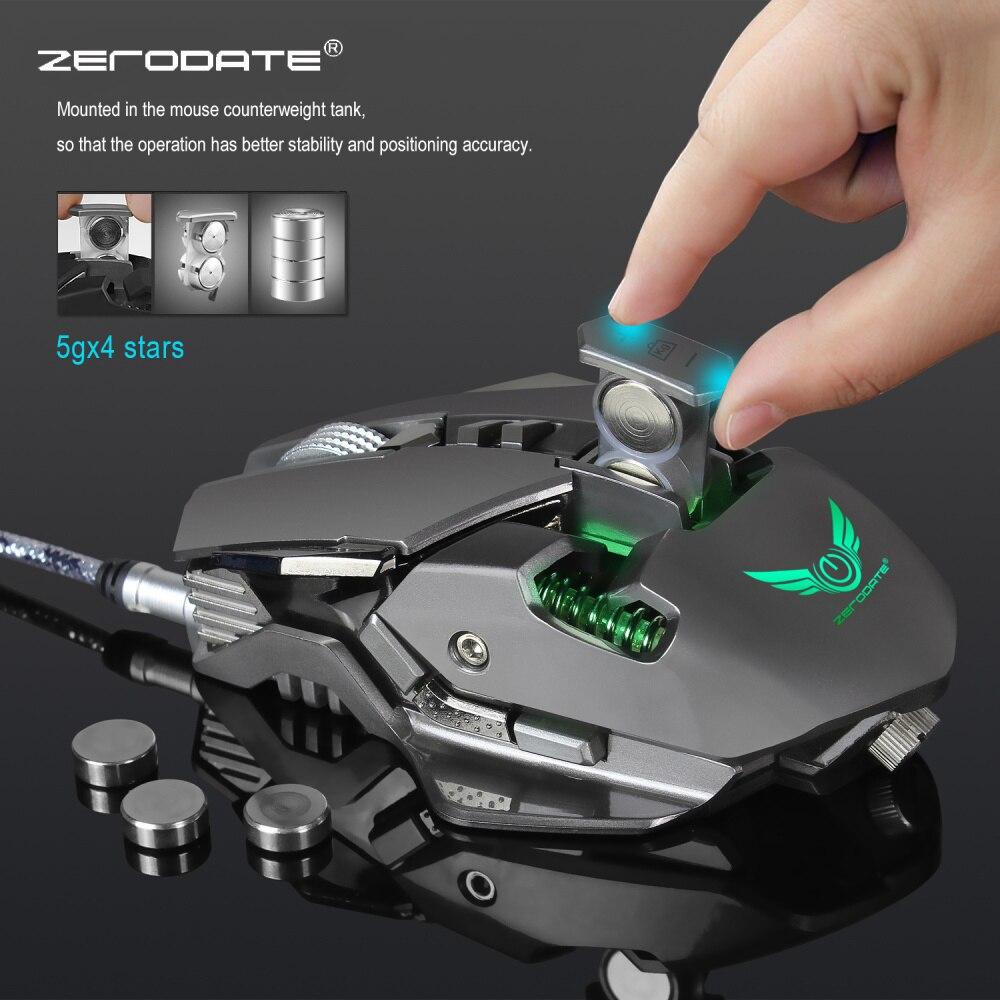 ZERODATE 3200 DPI USB con cable competitivo de ratón de juego 7 Botones programables mecánica definición de Macro de programación juego ratones