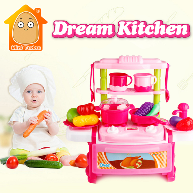 Minitudou Kitchen Toys For Girls Boys Classic Cooking Kids Pretend Play Cutting Food Set